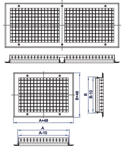 Решетка горизонтально-вертикальная регулируемая